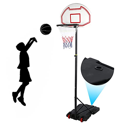 Ejoyous Aro de Baloncesto Soporte de Baloncesto, Altura Ajustable 192-237 cm Sistema de Baloncesto portátil extraíble Sistema de Cesta con 2 Ruedas para Actividades en Interiores y Exteriores