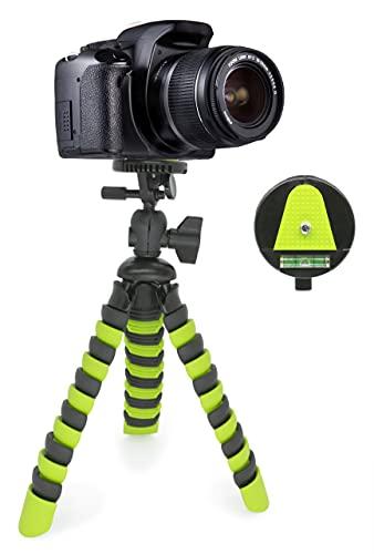 MyGadget Mini Trípode Flexible para Cámara Reflex - Soporte Portátil Pulpo con Liberación Rápida de Placa - Montaje Universal 360° Pequeño - Verde