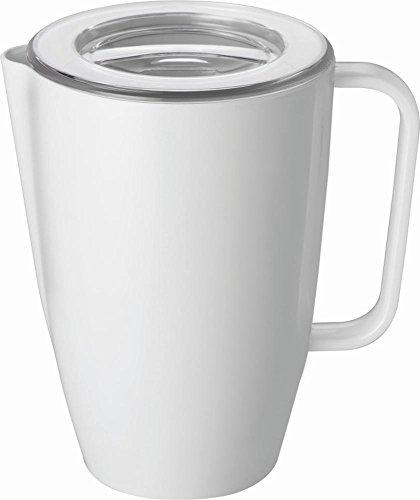 APS 84225 Kanne inklusive Deckel Ø 14cm, H: 21cm, 2 Liter Kanne: Melamin, weiß Deckel: SAN, transparent