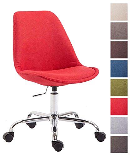 CLP Bürostuhl Toulouse mit Stoffbezug | Schreibtischstuhl mit Laufrollen | Drehstuhl mit Metallgestell in Chrom-Optik | Mit Farbwahl Rot