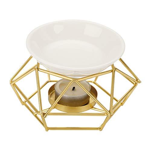 BSTKEY Bruciatore a cera in metallo e ceramica per candele diffusore di aromi, decorazione domestica, bruciatore per aromaterapia a rombo in ferro (oro)
