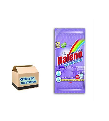 BALENO Maxi Panni UMIDIFICATI per LA Pulizia di Tutte Le SUPERFICI 20PZ. - Cartone CONTENENTE 12 CONF. da 20 PZ. (Totale 240 SALVIETTE UMIDIFICATE)