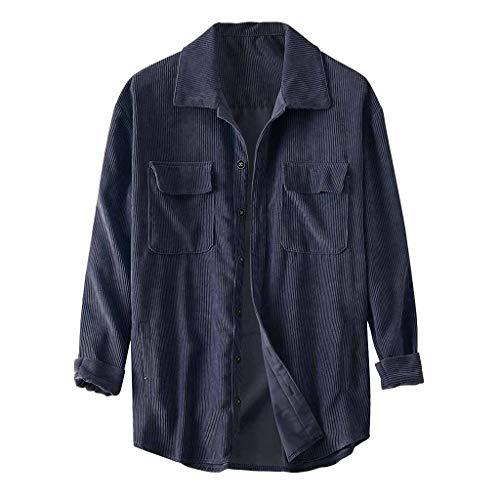 Azruma Herren Corduroy Jacke Freizeithemd Männer Hemd Langarm Regular Fit Casual Cordhemd Basic Knopf Reißverschluss Mantel