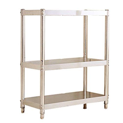 Küchenregal ZCJB Edelstahl-Regal 3 Ebenen Multilayer Thicker Shelf Badezimmer Hotels Küche Lagerung Rack (Farbe : L60*W35*H80CM)