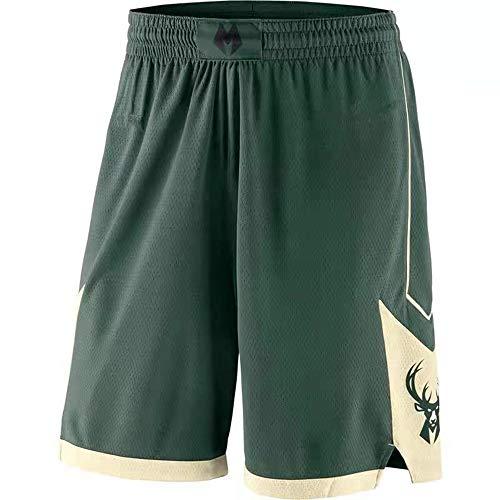AIALTS Pantaloncini 34 di Basket Maschile Bucks, Urbani Versione Ricamo Concorrenza Basket Pantaloncini di Formazione,Verde,M