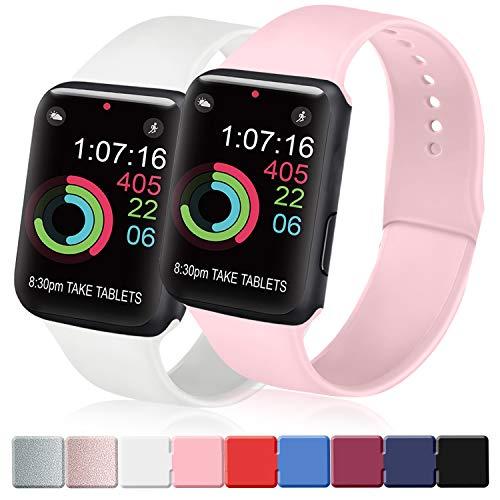 AK Cinturino Compatibile per Apple Watch 44mm 42mm 38mm 40mm, Cinturino Sport in Silicone Cinturino Uomo e Donna per iWatch Serie 5 4 3 2 1 (Rosa + Bianco, 38/40mm S/M)