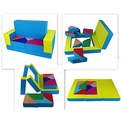 millybo Spielsofa 4in1 Couch Kindersofa Puzzle Kinderzimmersofa Spielmatratze fürs Kinderzimmer Kindermöbel Spielpolster (grün/blau)