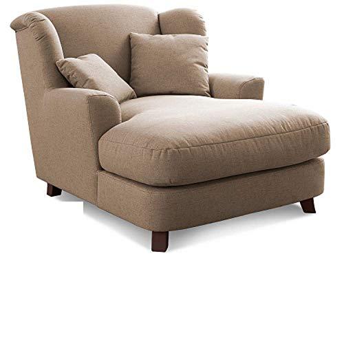 Cavadore XXL-Sessel Assado / Großer Polstersessel mit Holzfüßen und großer Sitzfläche / Inkl. 2 Zierkissen / 109 x 104 x 145 / Flachgewebe Dunkelbeige