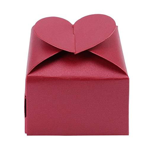 Lot de 20 boîtes à bonbons carrées en papier en forme de cœur pour festival, fête, anniversaire, emballage cadeau, décoration de mariage