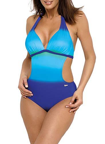 Aleumdr Bikini Set Damen Push Up Bademode Neckholder V-Ausschnitt Badeanzug Einteiliger Rückenfreier Bademode Bauchweg Strandbikini Himmelblau M