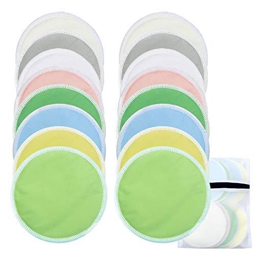 16 Piezas Almohadillas de Lactancia Bambú Orgánicos con Bolsa de Lavandería, 8 Colores Discos Lactancia Lavables Reutilizables para Pérdida de Leche
