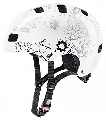 Uvex Unisex Jugend, Kid 3 Fahrradhelm, Dirtbike White Flower Black, 51-55 cm