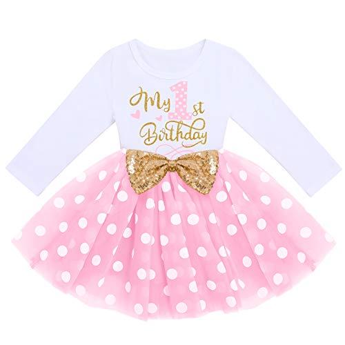 FYMNSI Vestido de manga larga para bebé, para niña, vestido de manga larga, vestido de tul, vestido de princesa, vestido de fiesta para sesión de fotos, Rosa Tupfen - Mein 1. Geburtstag, 12 meses