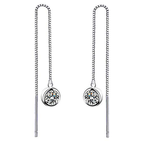 Women 925 Sterling Silver Brilliant Round Cut CZ Needle Threader Pull Through Dangle Earrings