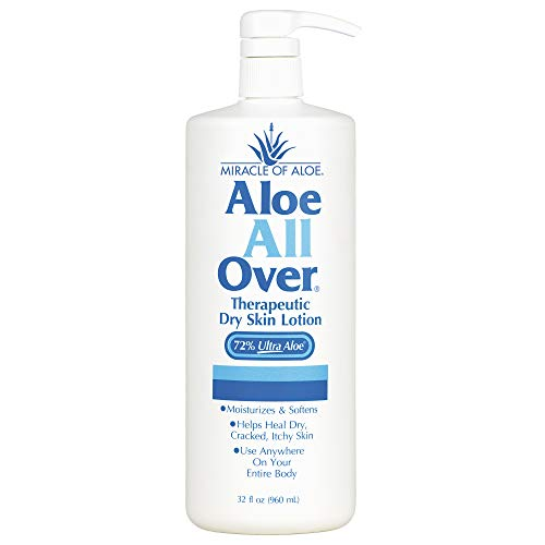 Miracle of Aloe All Over Lotion Cream 32 Oz Pump Best Dry Lotion You'll Ever Use Guaranteed! Ideal Dry Skin Lotion