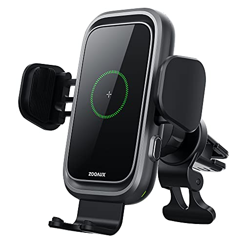 [2021 Version] ZOOAUX Wireless Car Charger, 15W Qi Fast Charging Auto-Clamping Air Vent Mount Phone Holder,Built-in Cooling Fan for iPhone 12/11/XR/X/8, Samsung S21/S20/S10/S9/ Note10/ 9 and More