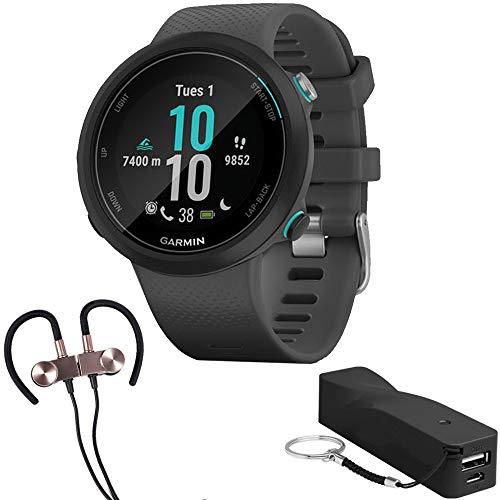 Garmin Swim 2 GPS Swimming Smartwatch w/Deco Gear Earbuds & Portable Power Bank