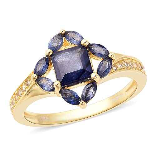 Isabella Liu Blue Sapphire and White Zircon Floral Ring for Women in Yellow Gold Plated 925 Sterling Silver Jewellery for Nature Lover Size N, TCW 2.87ct