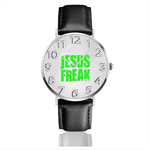 Orologio da polso Etichetta Me A Jesus Freak Logo Orologio da polso classico al quarzo casual in pelle nera Orologio da lavoro