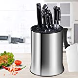 Universal Knife Block - Colture Stainless Steel Kitchen Knife Holder (Without Knives)- Round Space - Saver Knife Storage Stand safely stores knives while keeping blades clean and sharp