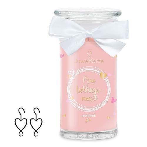 JuwelKerze 'Mein Lieblingsmensch' (Ohrringe) Schmuckkerze große Rosa Duftkerze 925 Sterling Silber - Kerze mit Schmucküberraschung als Geschenk für sie