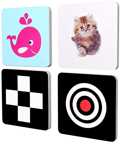 MINTLIFE High Contrast Flash Card for Baby and Toddler, 4Packs 96 Cards 192 Pictures (5.5'X5.5'), Black and White and Colorful Objects stimulating Brain and Recognition Development