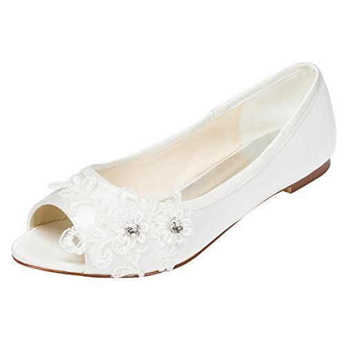 Top 10 best selling list for white flat peep toe wedding shoes