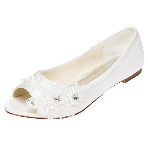 Emily Bridal Brautschuhe Frauen Satin Flache Ferse Peep Toe mit Crystal Heel Crystal (EU39, Ivory)