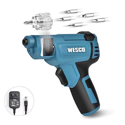 WESCO 3.6V Mini Akkuschrauber,Akkuschrauber klein,1500mAh Li-Ion Akku mit Schnellwechselkartusche und 6 Schrauber-Bits,mit USB-Ladekabel und LED-Licht