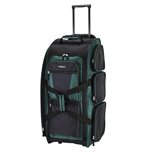 Travelers Club Xpedition 30 Inch Multi-Pocket Upright Rolling Duffel Bag, Teal, 30-Inch