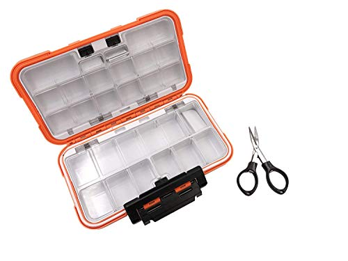 Milepetus Waterproof Fishing Lure Box Spoon Hooks Baits Storage Tackle Box Containers for Casting Fishing Fly Fishing,Large/Medium/Small Lure Case Available (Orange-Large)