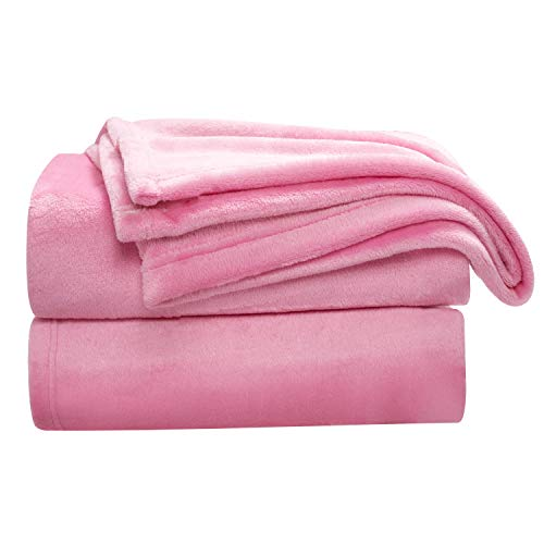 Bedsure Flannel Fleece Blanket Throw Size (50'x60'), Rose Pink - Lightweight Blanket for Sofa, Couch, Bed, Camping, Travel - Super Soft Cozy Microfiber Blanket