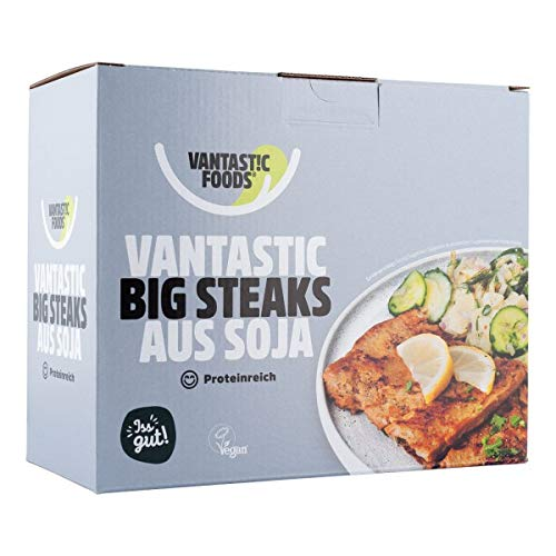 Vantastic foods Big Steaks 500g | Fleischersatz VEGAN | Soja Steaks als Fleischalternative mit Protein | Vegane Schnitzel zum Braten