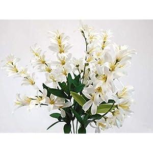Silk Flower Arrangements Cream Freesia Artificial Flowers Greens Leaves