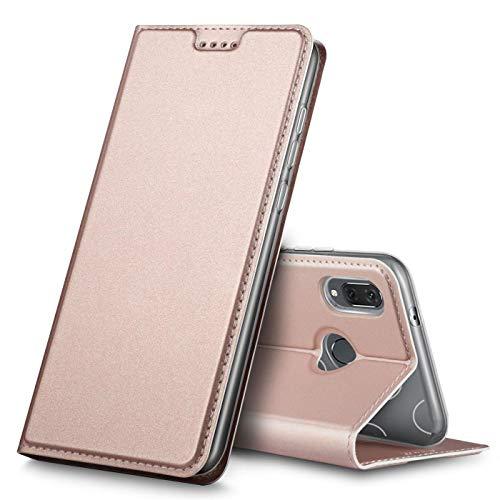 Verco Handyhülle für P20 Lite, Premium Handy Flip Cover für Huawei P20 Lite Hülle [integr. Magnet] Book Case PU Leder Tasche, Rosegold