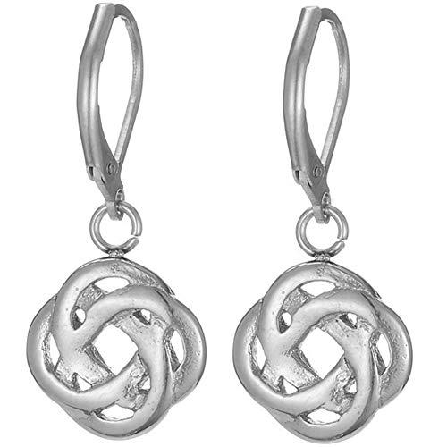 Stainless Steel Plain Simple Celtic Knot Drop Earrings (Silver)