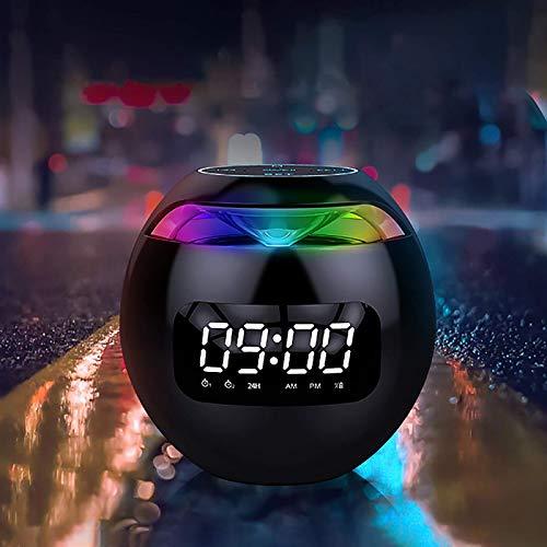 YUNYODA Reloj Despertador Digital Altavoz Bluetooth, Relojes Digitales Junto a la Cama con Luces de Colores, Reloj Despertador Doble, Radio, Mini Altavoz de Viaje con batería incorporada