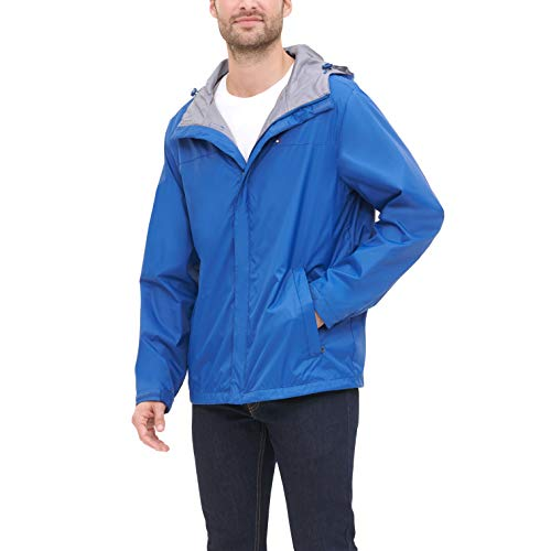 Mens Waterproof Breathable Ocean Blue Hooded Rain Jacket