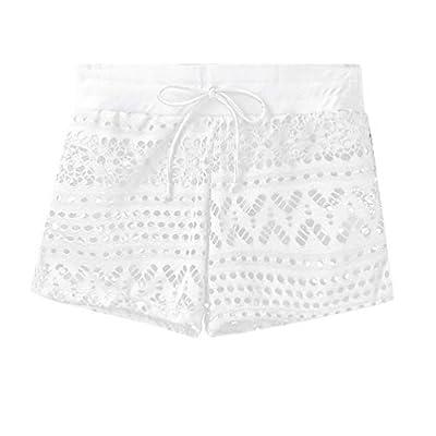 Goobester Short Girl Women Wide Leg Hollow Out Feminino Plus Size Spodenki White XXXL