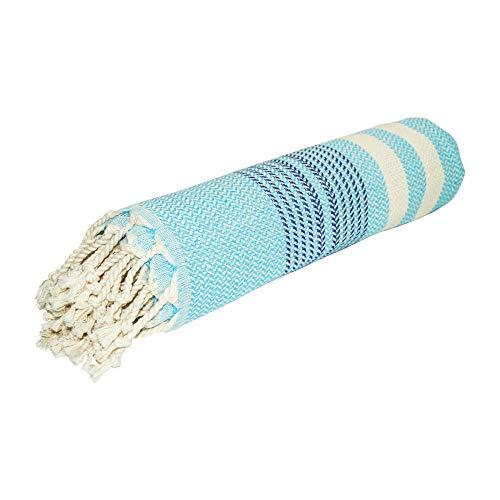 SCN Premium Toalla de hamam, toalla de sauna, pestemal, toalla de playa, 100 x 180 cm (Pinar) 100% algodón turco Oeko Tex 100 (Turquesa)