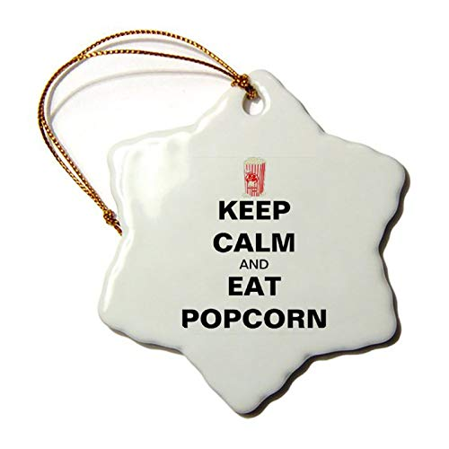3 Inch Christmas Ornament, Keep Calm And Eat Popcorn Mens Snowflake Ornaments Christmas Tree Decorative Hanging, Keepsake Gift Memorial Peace & Happiness Christmas Decorations