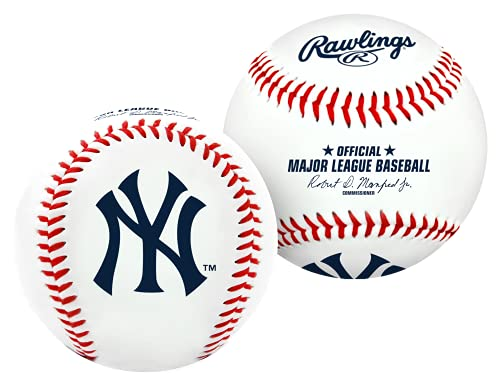 Rawlings MLB New York Yankees Team Logo Baseball, Official, White