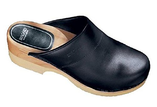 Bragard Sven Chef Unisex Clogs, Lightweight Leather Shoes with Waterproof Slip-Resistant Soles - Size 40 Black