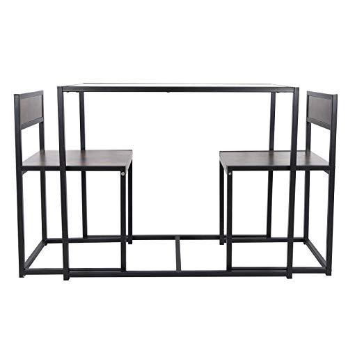 Juego de 3 sillas rectangulares para comedor, mesa de comedor y sillas, juego de mesa de comedor de madera, diseño vintage con 2 sillas para el hogar, espacios pequeños, sala de estar, cocina