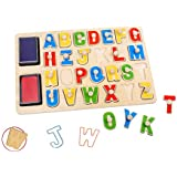 Toysters Wooden Alphabet Stamp Puzzle for Kids...