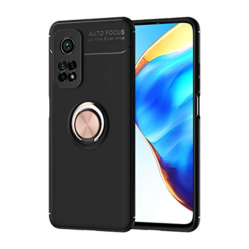 SORAKA Funda para Xiaomi Mi 10T 5G/Xiaomi Mi 10T Pro 5G con Anillo Giratorio de 360 Grados Funda Silicona Suave Funda Ultrafina con Placa de Metal para Soporte magnético de teléfono para automóvil