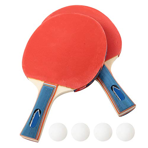 New iFCOW Ping Pong Racket, Durable Training Table Bat Tennis Portable Ping Pong Set 2 Rackets 4 Bal...
