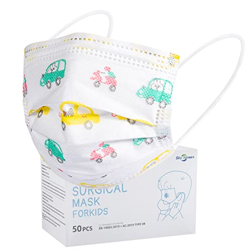 SOYES Mundschutz Kinder Einweg Kindermasken TYP IIR 3 Lagig - 50 Stück Einwegmasken Kinder CE Zertifizierte - Einweg-Gesichtsmaske - Mund Nasen Schutzmaske Kindermasken Junge Mädchen