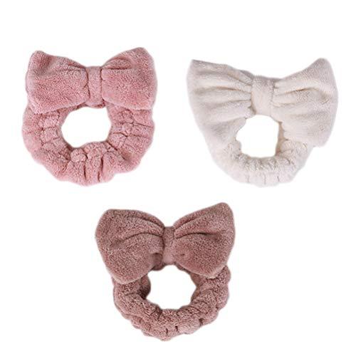 Lurrose haarband pluche strik hoofdband zacht, instelbaar hoofddeksel gestreepte hoofddeksel (roze + wit + koffie) 3st