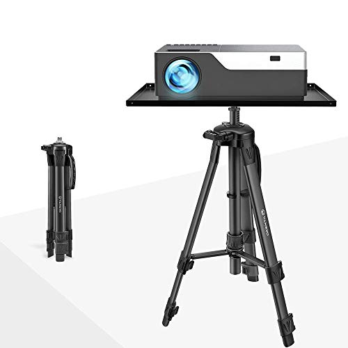 VANKYO Aluminum Tripod Projector Stand, Adjustable Laptop Stand, Multi-function Stand, Computer Stand Adjustable Height 17'' to 46'' For Laptop with Plate(Black)